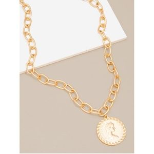 Coin Pendant & Chain Necklace 18k Plated